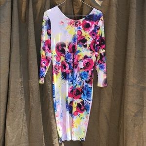 KTOO Floral Dress Bodycon Fitted Size 14/16